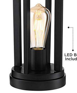 Marcel Modern Industrial Black Table Lamps Set Of 2 With Nightlight LED USB Port Linen Shade For Living Room Bedroom 360 Lighting 0 4 300x360