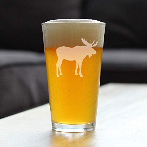 Moose 16 Oz Pint Glass For Beer Cabin Themed Gifts Or Rustic Decor For Men And Women Fun Drinking Or Party Glasses 0 0
