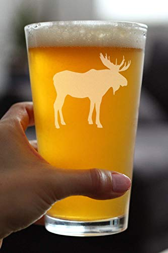 Moose 16 Oz Pint Glass For Beer Cabin Themed Gifts Or Rustic Decor For Men And Women Fun Drinking Or Party Glasses 0 1