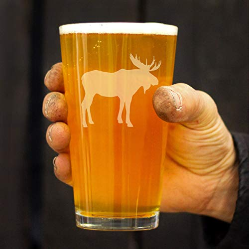 Moose 16 Oz Pint Glass For Beer Cabin Themed Gifts Or Rustic Decor For Men And Women Fun Drinking Or Party Glasses 0 2