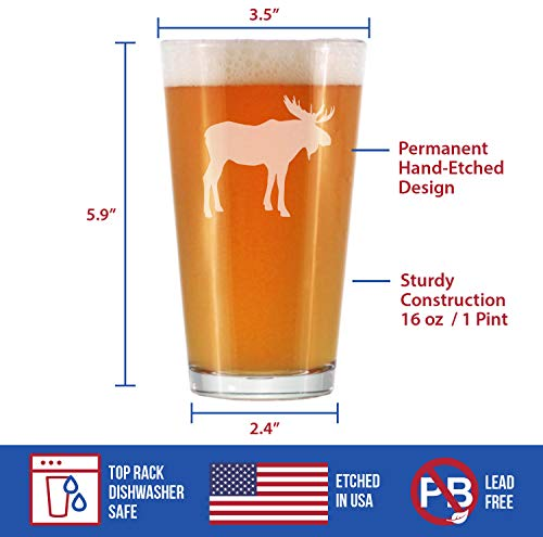 Moose 16 Oz Pint Glass For Beer Cabin Themed Gifts Or Rustic Decor For Men And Women Fun Drinking Or Party Glasses 0 3