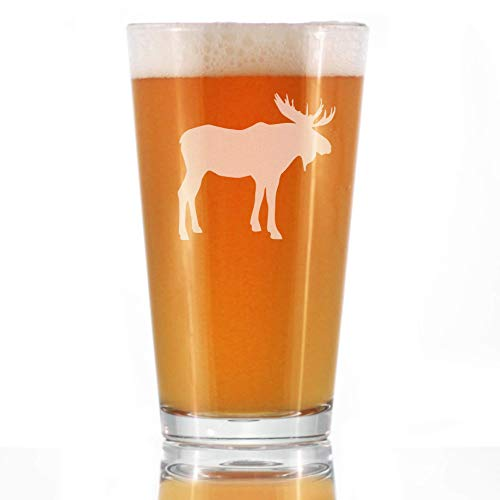 Moose 16 Oz Pint Glass For Beer Cabin Themed Gifts Or Rustic Decor For Men And Women Fun Drinking Or Party Glasses 0