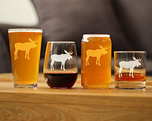 Moose Beer Can Pint Glass 16 Oz Cabin Themed Gifts Or Rustic Decor For Men And Women Fun Drinking Or Party Glasses 0 4
