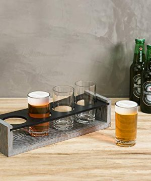 MyGift Vintage Gray Washed Wood 4 Glass Craft Beer Tasting Flight Set Server Caddy Tray WErasable Chalkboard Surface 0 0 300x360