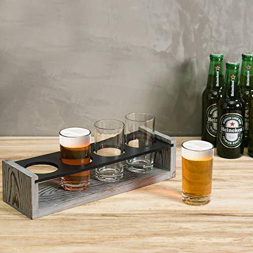 MyGift Vintage Gray Washed Wood 4 Glass Craft Beer Tasting Flight Set Server Caddy Tray WErasable Chalkboard Surface 0 0