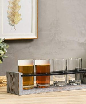 MyGift Vintage Gray Washed Wood 4 Glass Craft Beer Tasting Flight Set Server Caddy Tray WErasable Chalkboard Surface 0 1 300x360
