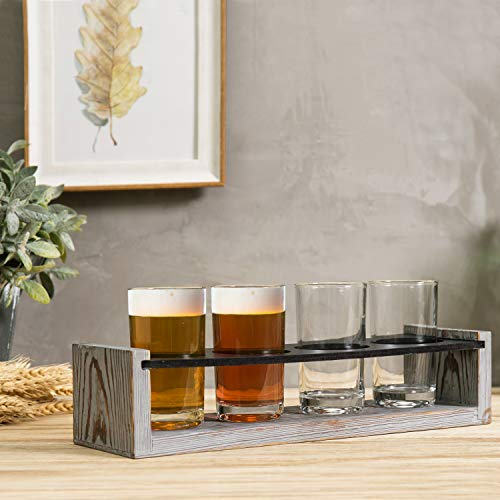 MyGift Vintage Gray Washed Wood 4 Glass Craft Beer Tasting Flight Set Server Caddy Tray WErasable Chalkboard Surface 0 1