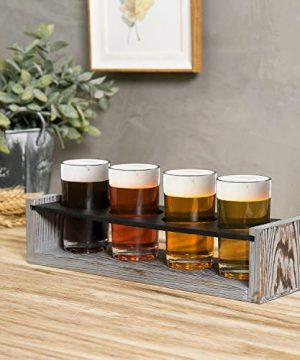MyGift Vintage Gray Washed Wood 4 Glass Craft Beer Tasting Flight Set Server Caddy Tray WErasable Chalkboard Surface 0 2 300x360