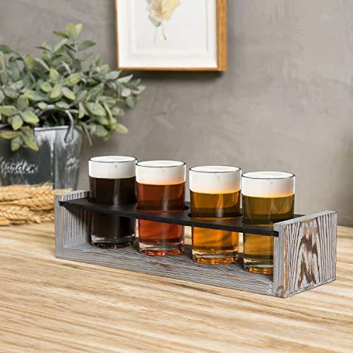 MyGift Vintage Gray Washed Wood 4 Glass Craft Beer Tasting Flight Set Server Caddy Tray WErasable Chalkboard Surface 0 2