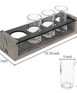 MyGift Vintage Gray Washed Wood 4 Glass Craft Beer Tasting Flight Set Server Caddy Tray WErasable Chalkboard Surface 0 3 300x360