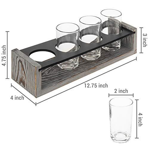 MyGift Vintage Gray Washed Wood 4 Glass Craft Beer Tasting Flight Set Server Caddy Tray WErasable Chalkboard Surface 0 3