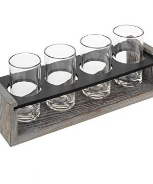 MyGift Vintage Gray Washed Wood 4 Glass Craft Beer Tasting Flight Set Server Caddy Tray WErasable Chalkboard Surface 0 4 300x360