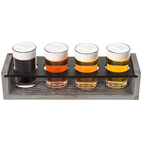 MyGift Vintage Gray Washed Wood 4 Glass Craft Beer Tasting Flight Set Server Caddy Tray WErasable Chalkboard Surface 0