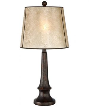 Naomi Rustic Table Lamp Aged Bronze Mica Drum Shade For Living Room Family Bedroom Bedside Nightstand Office Franklin Iron Works 0 0 300x360