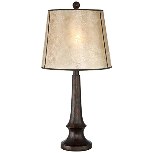 Naomi Rustic Table Lamp Aged Bronze Mica Drum Shade For Living Room Family Bedroom Bedside Nightstand Office Franklin Iron Works 0 0