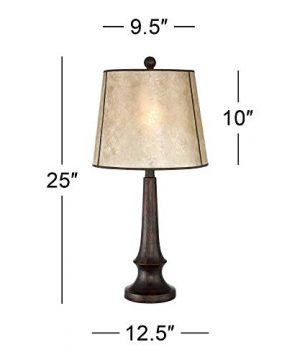 Naomi Rustic Table Lamp Aged Bronze Mica Drum Shade For Living Room Family Bedroom Bedside Nightstand Office Franklin Iron Works 0 2 300x360