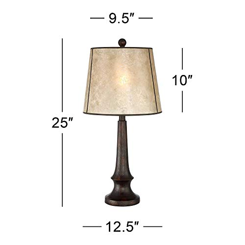 Naomi Rustic Table Lamp Aged Bronze Mica Drum Shade For Living Room Family Bedroom Bedside Nightstand Office Franklin Iron Works 0 2