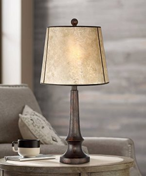 Naomi Rustic Table Lamp Aged Bronze Mica Drum Shade For Living Room Family Bedroom Bedside Nightstand Office Franklin Iron Works 0 300x360