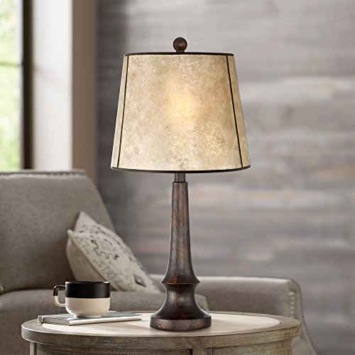 Naomi Rustic Table Lamp Aged Bronze Mica Drum Shade For Living Room Family Bedroom Bedside Nightstand Office Franklin Iron Works 0