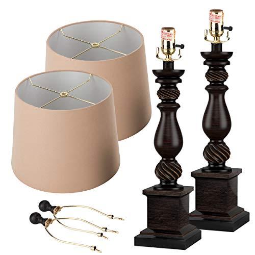 Oneach Table Lamp Set Of 2 For Bedroom Rustic Bedside Table Desk Lamps For Living Room Study Office 24 Minimalist Lamps Set Bronze 0 3