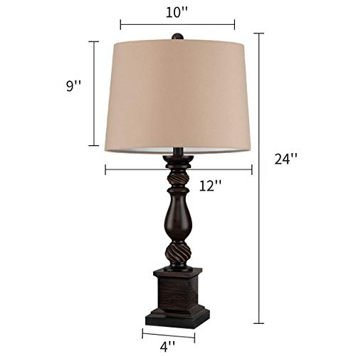 Oneach Table Lamp Set Of 2 For Bedroom Rustic Bedside Table Desk Lamps For Living Room Study Office 24 Minimalist Lamps Set Bronze 0 4