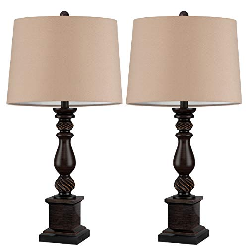 Oneach Table Lamp Set Of 2 For Bedroom Rustic Bedside Table Desk Lamps For Living Room Study Office 24 Minimalist Lamps Set Bronze 0