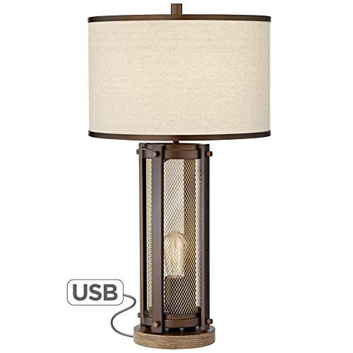 Otto Industrial Farmhouse Table Lamp With USB Charging Port And Nightlight Antique LED Edison Bulb Antique Brass White Drum Shade For Living Room Bedroom Bedside Nightstand Franklin Iron Works 0 0