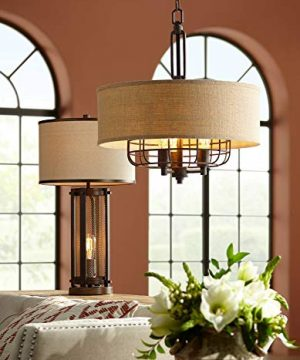 Otto Industrial Farmhouse Table Lamp With USB Charging Port And Nightlight Antique LED Edison Bulb Antique Brass White Drum Shade For Living Room Bedroom Bedside Nightstand Franklin Iron Works 0 1 300x360