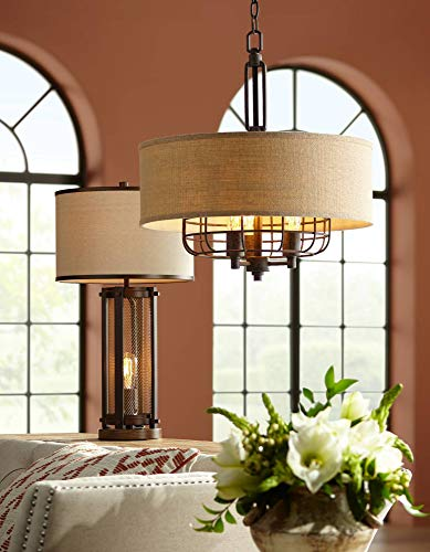 Otto Industrial Farmhouse Table Lamp With USB Charging Port And Nightlight Antique LED Edison Bulb Antique Brass White Drum Shade For Living Room Bedroom Bedside Nightstand Franklin Iron Works 0 1