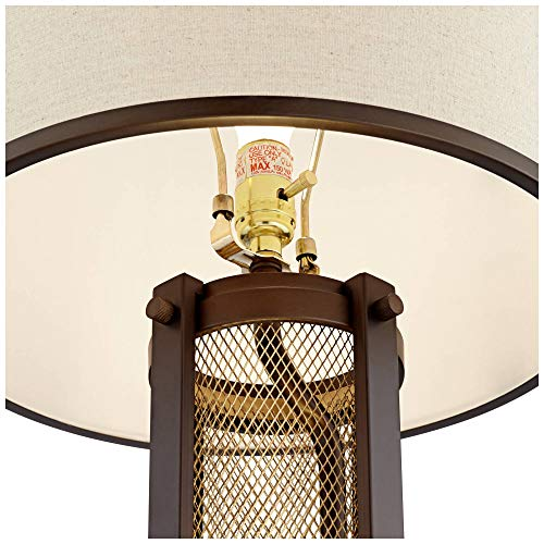 Otto Industrial Farmhouse Table Lamp With USB Charging Port And Nightlight Antique LED Edison Bulb Antique Brass White Drum Shade For Living Room Bedroom Bedside Nightstand Franklin Iron Works 0 2