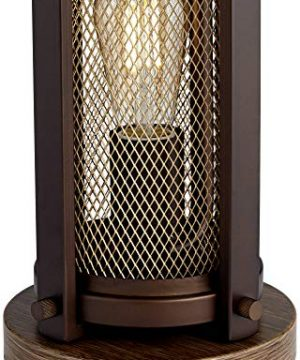 Otto Industrial Farmhouse Table Lamp With USB Charging Port And Nightlight Antique LED Edison Bulb Antique Brass White Drum Shade For Living Room Bedroom Bedside Nightstand Franklin Iron Works 0 3 300x360
