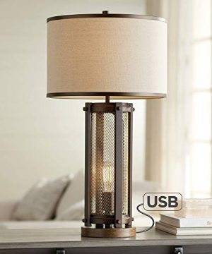 Otto Industrial Farmhouse Table Lamp With USB Charging Port And Nightlight Antique LED Edison Bulb Antique Brass White Drum Shade For Living Room Bedroom Bedside Nightstand Franklin Iron Works 0 300x360