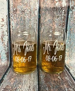 PAIR Personalized Beer Can Glasses Christmas Gift For Husband Wife Wedding Toasting Flutes Wine Glass Mr And Mrs Cups His And Hers 0 0 300x360