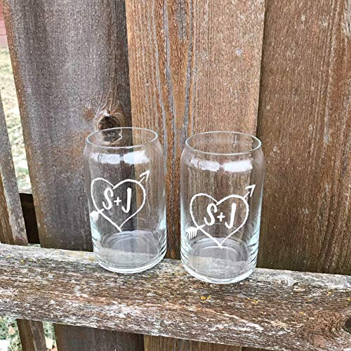 PAIR Personalized Beer Can Glasses Christmas Gift For Husband Wife Wedding Toasting Flutes Wine Glass Mr And Mrs Cups His And Hers 0