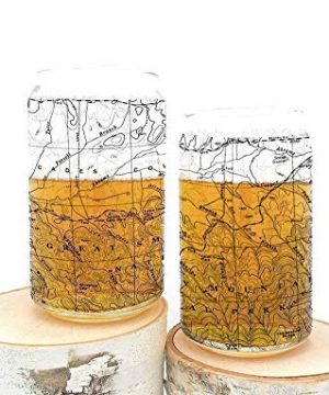 Pint Glasses By Black Lantern Handmade Can Shaped Craft Beer Glasses And Bar Glassware Great Smoky Mountains National Park Topographic Map Design Set Of Two 16oz Glasses 0 300x360