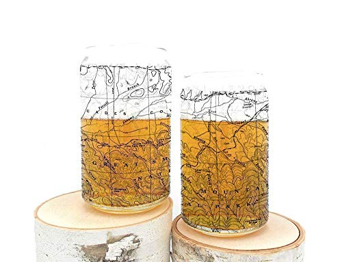 Pint Glasses By Black Lantern Handmade Can Shaped Craft Beer Glasses And Bar Glassware Great Smoky Mountains National Park Topographic Map Design Set Of Two 16oz Glasses 0