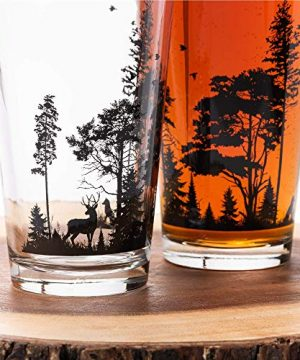 Pint Glasses By Black Lantern Handmade Craft Beer Glasses And Bar Glassware Forest And Animals Design Set Of Two 16oz Glasses 0 0 300x360