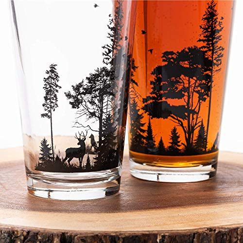 Pint Glasses By Black Lantern Handmade Craft Beer Glasses And Bar Glassware Forest And Animals Design Set Of Two 16oz Glasses 0 0