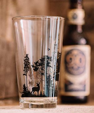 Pint Glasses By Black Lantern Handmade Craft Beer Glasses And Bar Glassware Forest And Animals Design Set Of Two 16oz Glasses 0 1 300x360