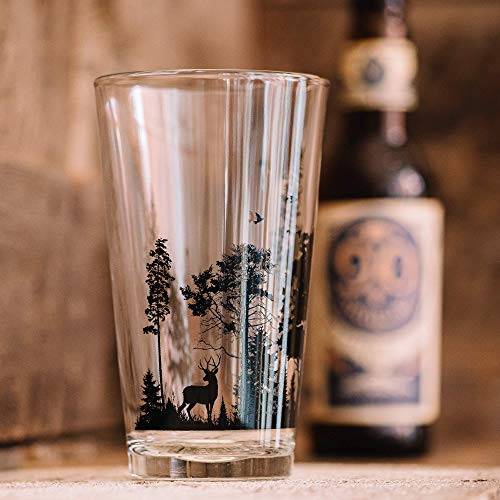 Pint Glasses By Black Lantern Handmade Craft Beer Glasses And Bar Glassware Forest And Animals Design Set Of Two 16oz Glasses 0 1