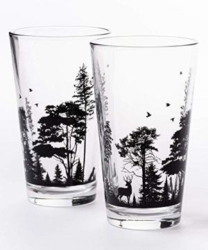 Pint Glasses By Black Lantern Handmade Craft Beer Glasses And Bar Glassware Forest And Animals Design Set Of Two 16oz Glasses 0 2 300x360