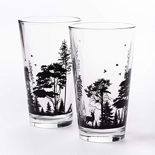 Pint Glasses By Black Lantern Handmade Craft Beer Glasses And Bar Glassware Forest And Animals Design Set Of Two 16oz Glasses 0 2