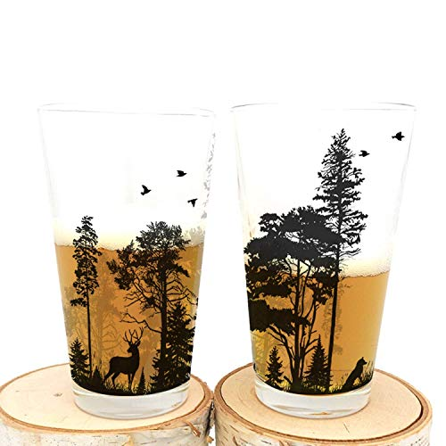 Pint Glasses By Black Lantern Handmade Craft Beer Glasses And Bar Glassware Forest And Animals Design Set Of Two 16oz Glasses 0
