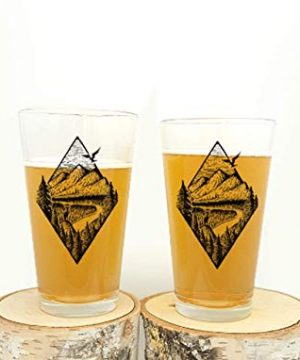 Pint Glasses By Black Lantern Handmade Craft Beer Glasses And Bar Glassware River Mountain Forest Design Set Of Two 16oz Glasses 0 300x360