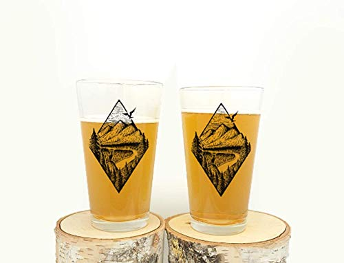 Pint Glasses By Black Lantern Handmade Craft Beer Glasses And Bar Glassware River Mountain Forest Design Set Of Two 16oz Glasses 0