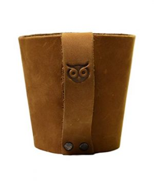 Rustic Leather Pint Sleeve With HandleBar Comfy Grip Handmade By Hide Drink Old Tobacco 0 0 300x360