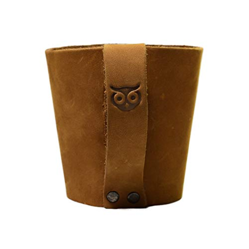 Rustic Leather Pint Sleeve With HandleBar Comfy Grip Handmade By Hide Drink Old Tobacco 0 0