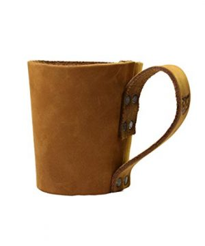 Rustic Leather Pint Sleeve With HandleBar Comfy Grip Handmade By Hide Drink Old Tobacco 0 1 300x360