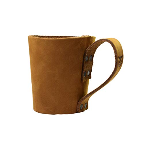 Rustic Leather Pint Sleeve With HandleBar Comfy Grip Handmade By Hide Drink Old Tobacco 0 1
