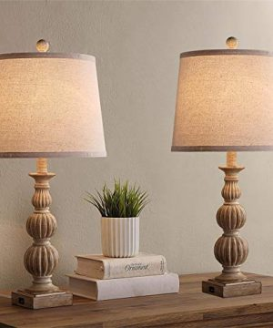 Rustic Table Lamp Set Of 2 Farmhouse Bedside Lamps With Dual USB Ports 26 Nightstand Lamps For Bedroom Living Room Beige Fabric Shade 2 Pack Brown 0 300x360